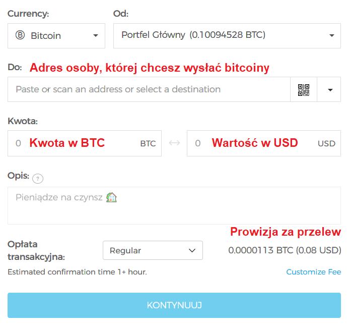 portfel bitcoin wysyłanie
